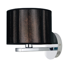 Eglo 20103A - 1 x 60W Wall Light w/Chrome Finish & Black Fabric Shade