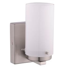 Eglo 201644A - 1x40W Wall Light w/ Satin Nickel Finish & White Glass