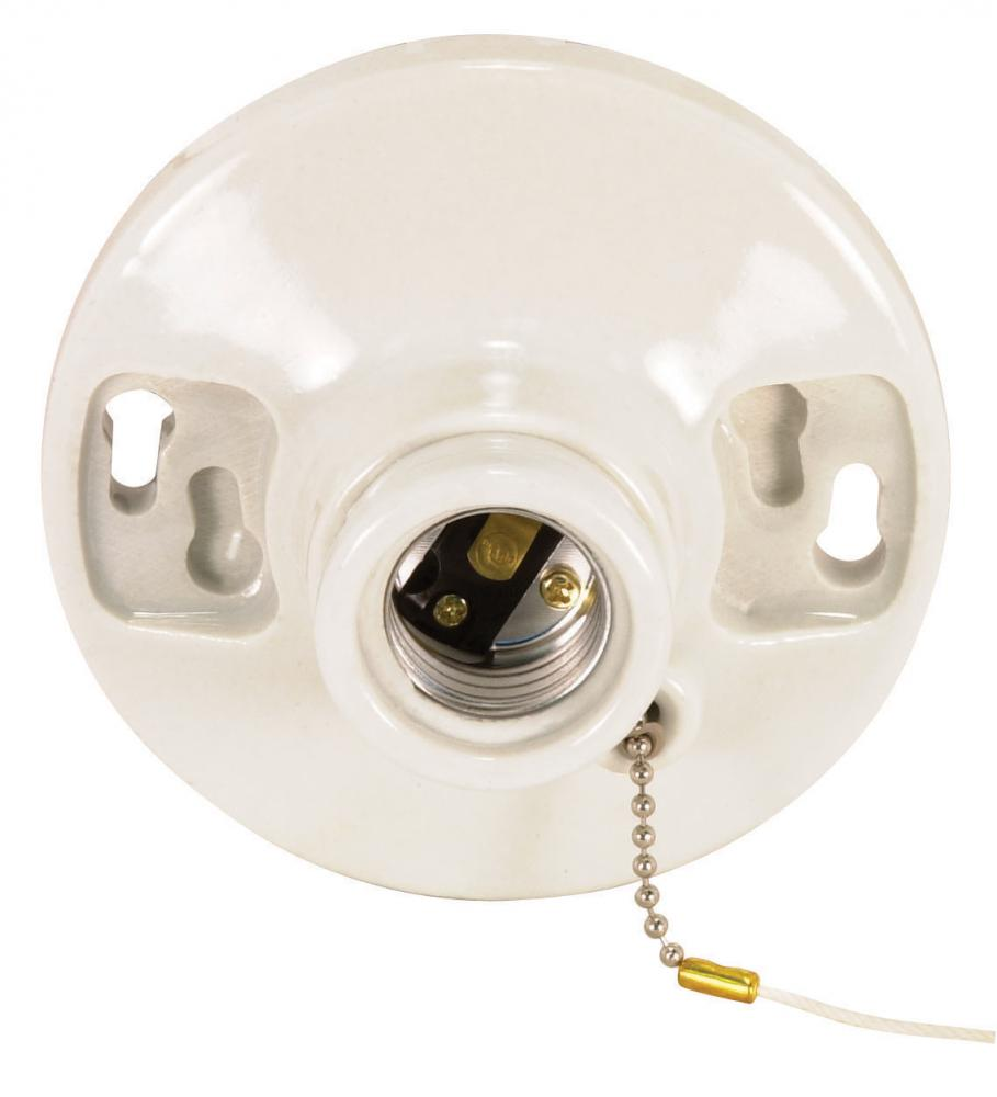 Glazed Porcelain On-Off Pull Chain Ceiling Receptacle