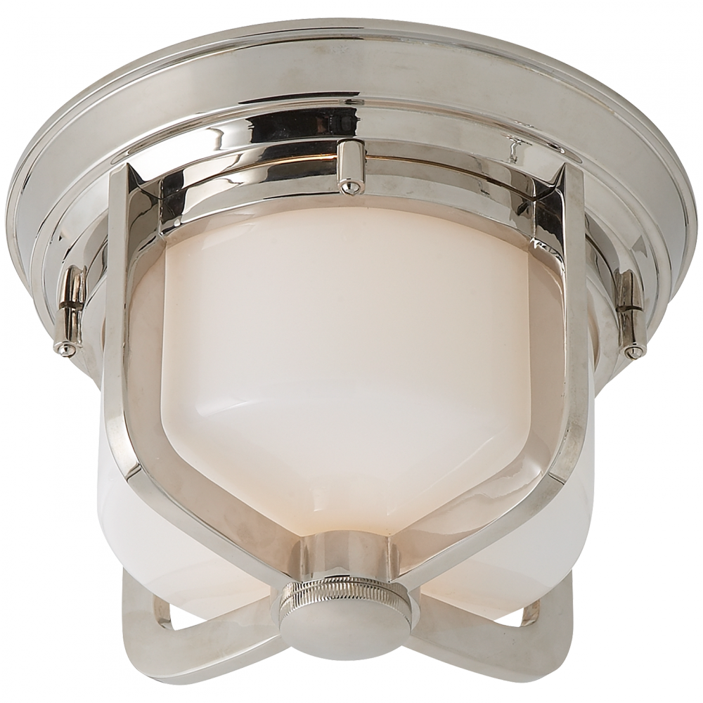 Milton Short Flush Mount in Polished Nickel with