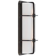 Visual Comfort TOB 2213BZ-WG - Milton Long Sconce in Bronze with White Glass