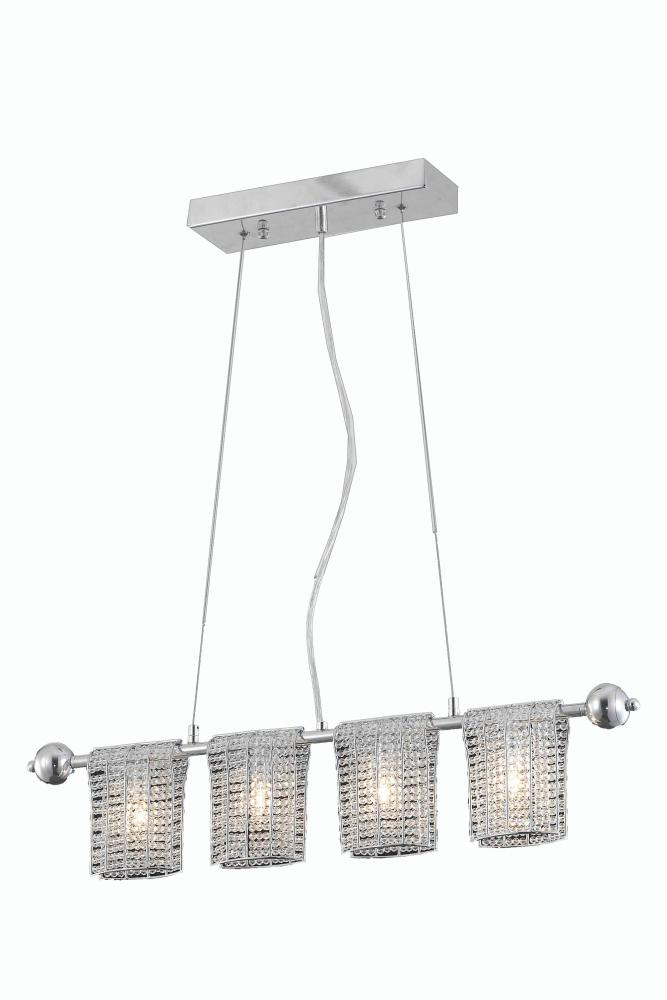 2085 Vivid Collection Hanging Fixture L28in H3in H6in LT:4 Chrome Finish (Elegant Cut Crystals)