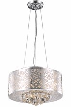 Elegant 2078D16C/RC - 2078 Prism Collection pendant D:16in H:10in Lt:4 Chrome Finish (Royal Cut Crystals)