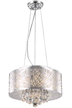 Elegant 2079D16C/RC - 2079 Prism Collection Pendant D:16in H:10in Lt:4 Chrome Finish (Royal Cut Crystals)
