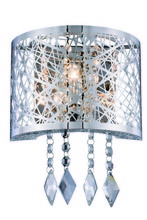 Elegant 2113W8C/RC - 2113 Finley Collection Wall Sconce D:8in H:6in E:4in Lt:1 Chrome Finish (Royal Cut Crystals)