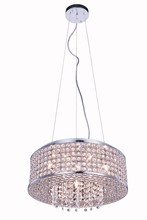 Elegant 2914D16C/RC - 2914 Amelie Collection Pendant D:16in H:5in Lt:6 Chrome Finish (Royal Cut Crystals)